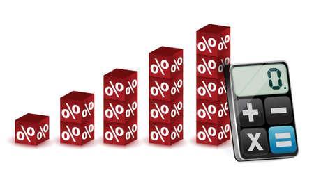 digital background: percentage graph and modern calculator illustration design over white