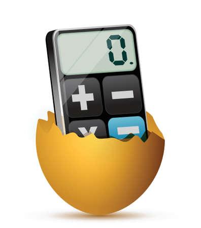 uovo rotto: uovo rotto e moderno design illustrazione calcolatrice su bianco