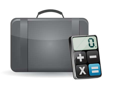 suitcase and modern calculator illustration design over white Stock Vector - 18632489