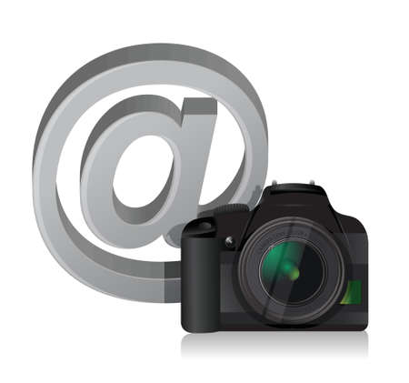 camera and internet at sign illustration design over white Stock Vector - 18689946