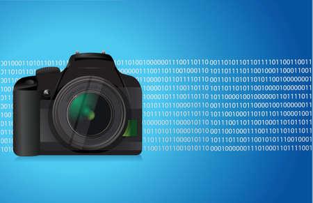 青いカメラ グラフィック イラスト デザイン バイナリの背景
