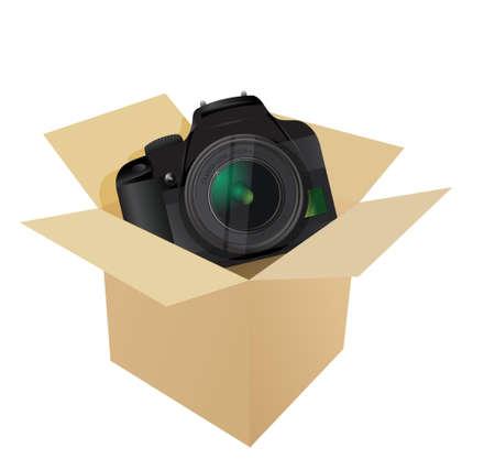 camera inside a box illustration design over white