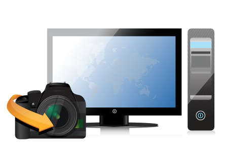 camera and a modern computer illustration design over a white background Иллюстрация