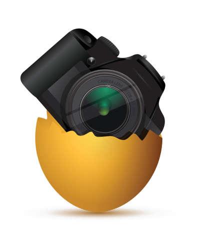 Fotocamera all'interno di un uovo rotto, illustrazione, disegno, sopra, bianco Archivio Fotografico - 18689951