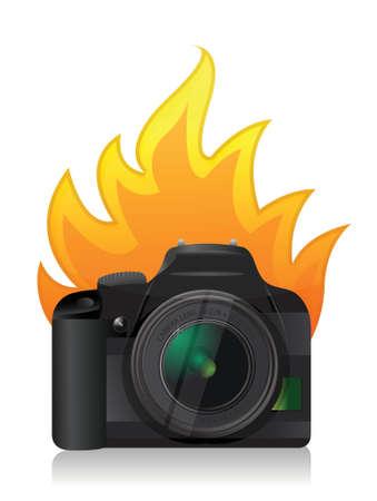 digital slr: camera on fire illustration design over a white background