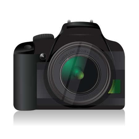 digital slr: high quality camera illustration design over a white background
