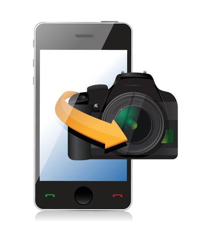 camera phone app illustration design over a white background Иллюстрация