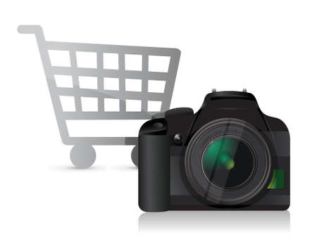 camera shopping concept illustration design over white Ilustracja