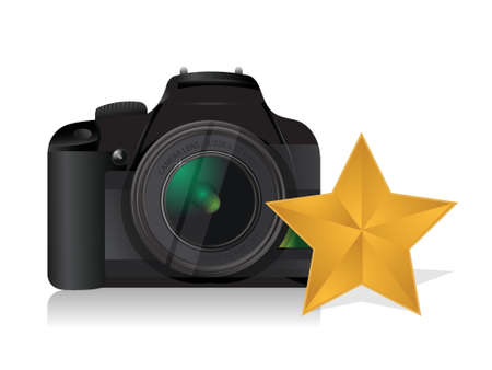 camera gold star review concept illustration design over white Stock Vector - 18676342