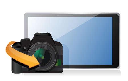 camera and a modern tablet illustration design over white