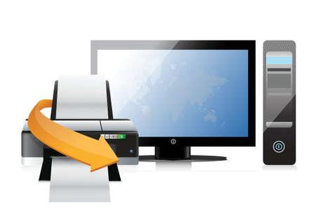 multi media: stampante e un moderno design illustrazione del computer su uno sfondo bianco Vettoriali
