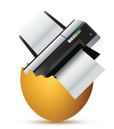 uovo rotto: stampante all'interno di un uovo rotto, illustrazione, disegno, sopra, bianco