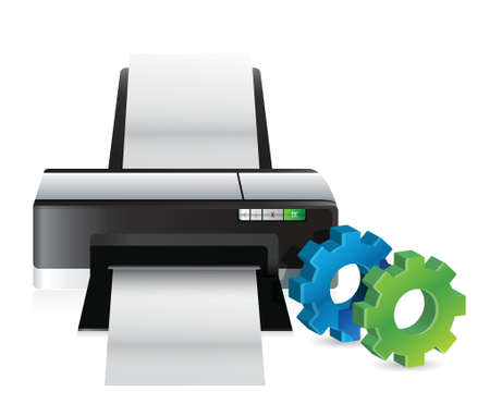 printer with industrial gears illustration design over white Stock Vector - 18689696