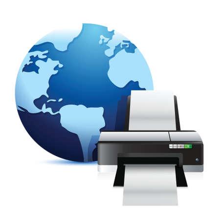 printer and a international globe illustration over a white background Illustration