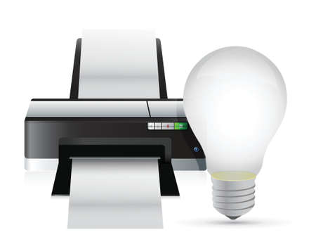printer and idea light bulb illustration design over white Vector