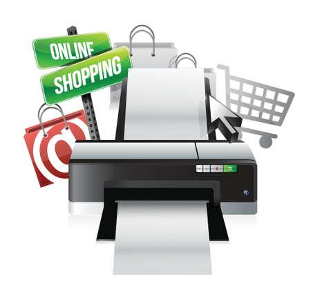 multi media: stampante commerciale concetto illustrazione design online su uno sfondo bianco