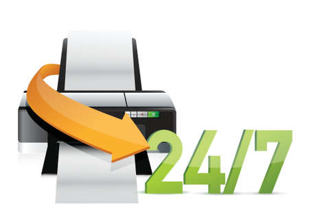 printer 24 for 7 service support illustration design over white Illustration