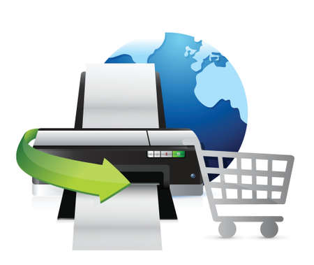 inkjet printer: printer international shopping concept illustration design over white