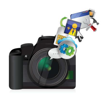 白い背景の上のカメラ設定ツール イラスト デザイン  イラスト・ベクター素材
