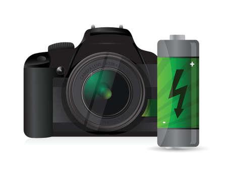 白い背景の上のカメラとバッテリーのイラスト デザイン  イラスト・ベクター素材