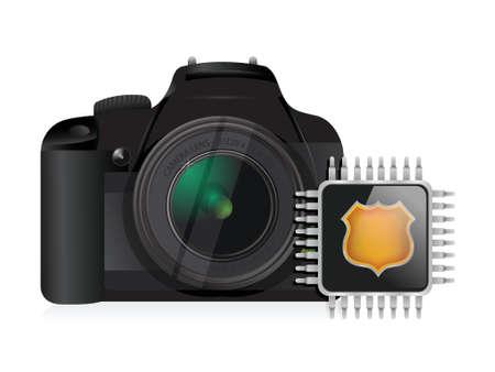 storage: camera and storage chip illustration design over a white background Illustration