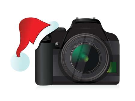 digital slr: camera and christmas hat gift concept illustration design