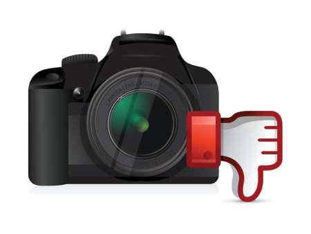 digital slr: camera thumbs down dislike illustration design over white