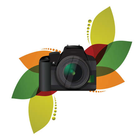 camera floral illustration design over a white background Vector