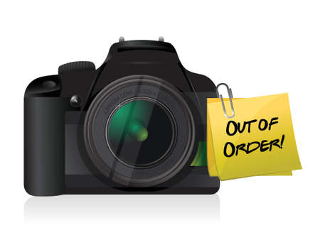 out of order: camera out of order post illustration design over a white background