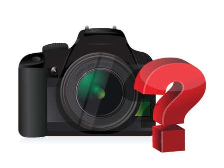 digital slr: camera question mark illustration design over a white background