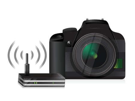 白い背景の上のカメラとルーターの接続イラスト デザイン