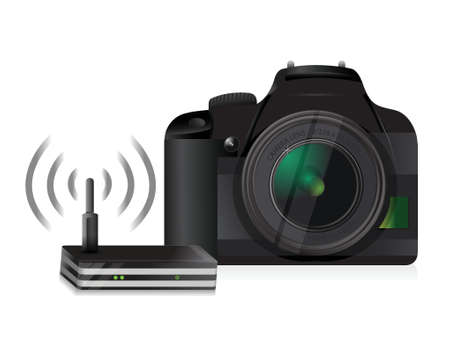 slr cameras: camera and router connection illustration design over a white background Illustration