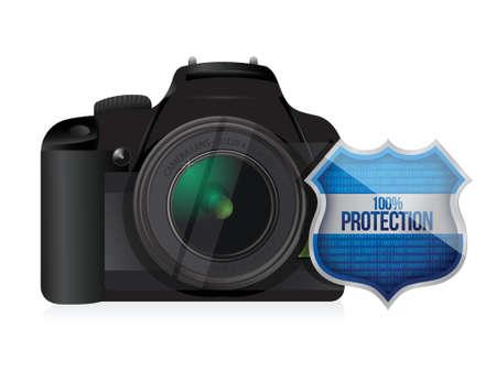 camera shield security protector illustration design over white Ilustração