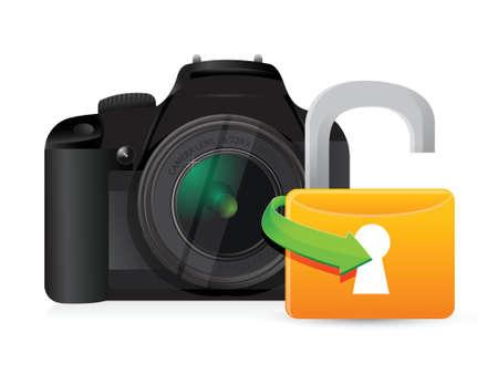 カメラ白地にイラスト グラフィック デザインのロックを解除します。