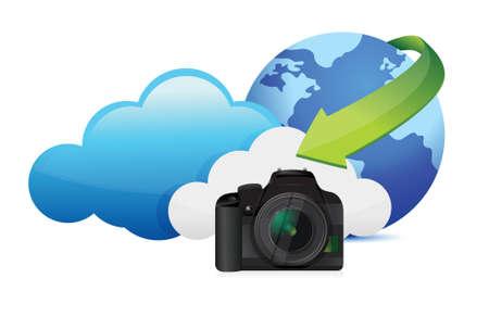 digital slr: camera cloud computing concept illustration design over white