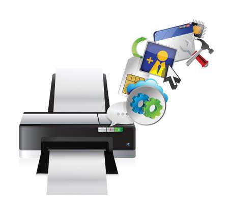 laser printer: printer settings tools illustration design over a white background
