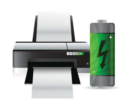 printer and battery illustration design over a white background