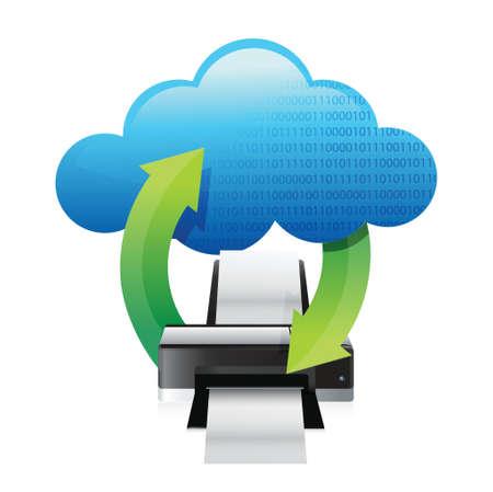 copying: printer cloud computing concept illustration design over white Illustration