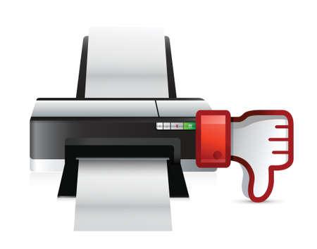 printer thumbs down dislike illustration design over white Stock Vector - 18728691
