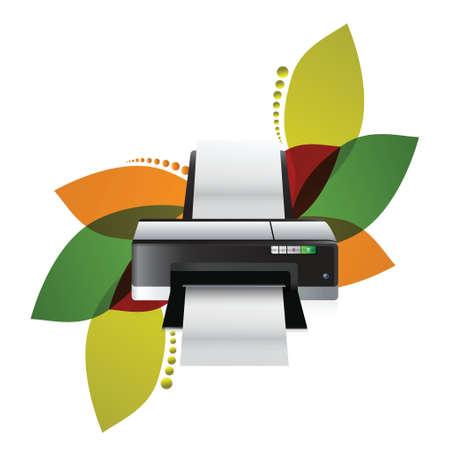 inkjet: printer floral illustration design over a white background