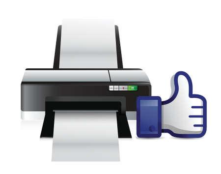 copying: printer thumbs up like illustration design over white