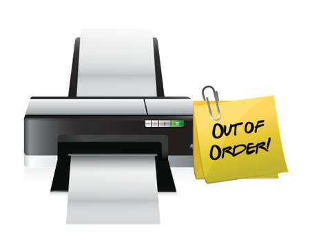 out of order: printer out of order post illustration design over a white background