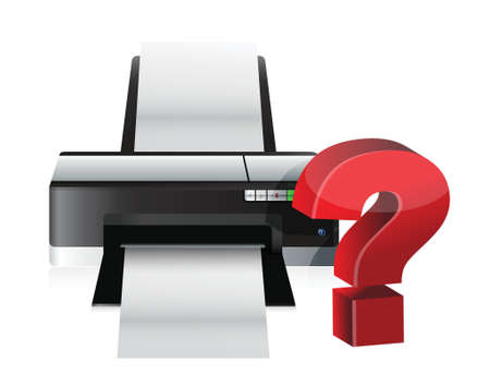 printer question mark illustration design over a white background