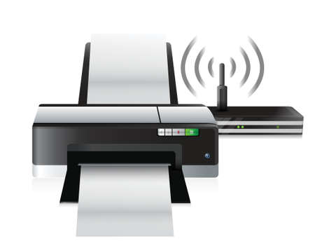 printer and router connection illustration design over a white background