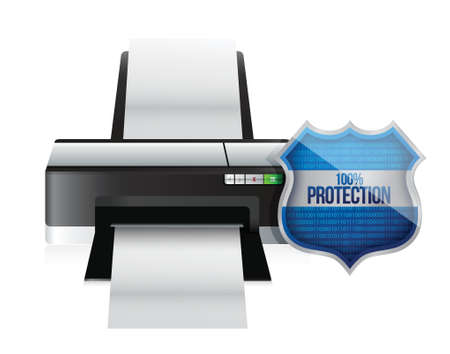 printer shield security protector illustration design over white 向量圖像