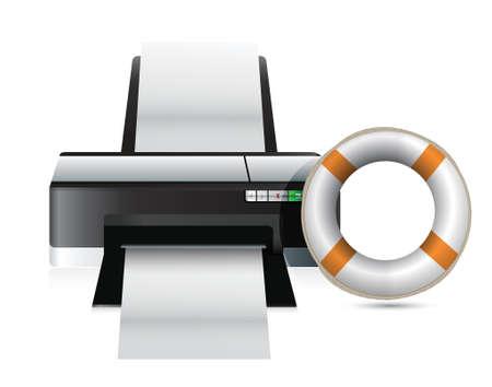 lifebouy: printer sos concept illustration design over a white background