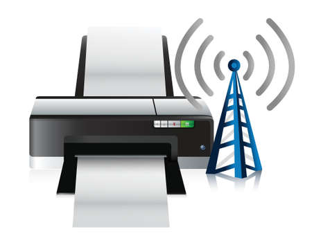 printer and connection tower illustration design over a white background