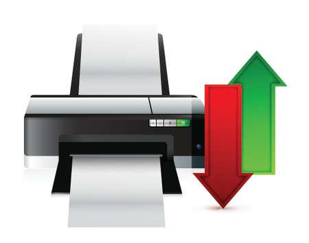 printer upload and download content illustration design over white