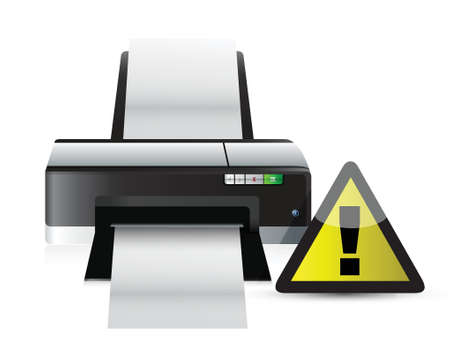cautious: printer warning sign concept illustration design over white