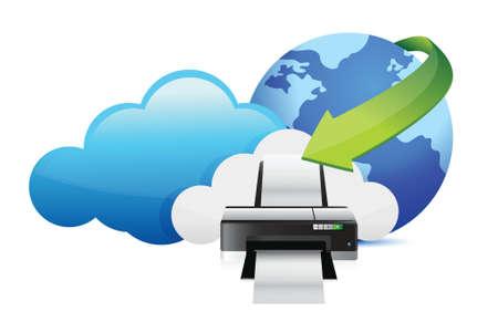 desktop printer: printer cloud computing concept illustration design over white Illustration
